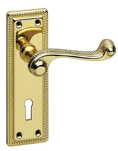HA332 GEORGIAN LOCK HANDLE POLISHED BRASS
