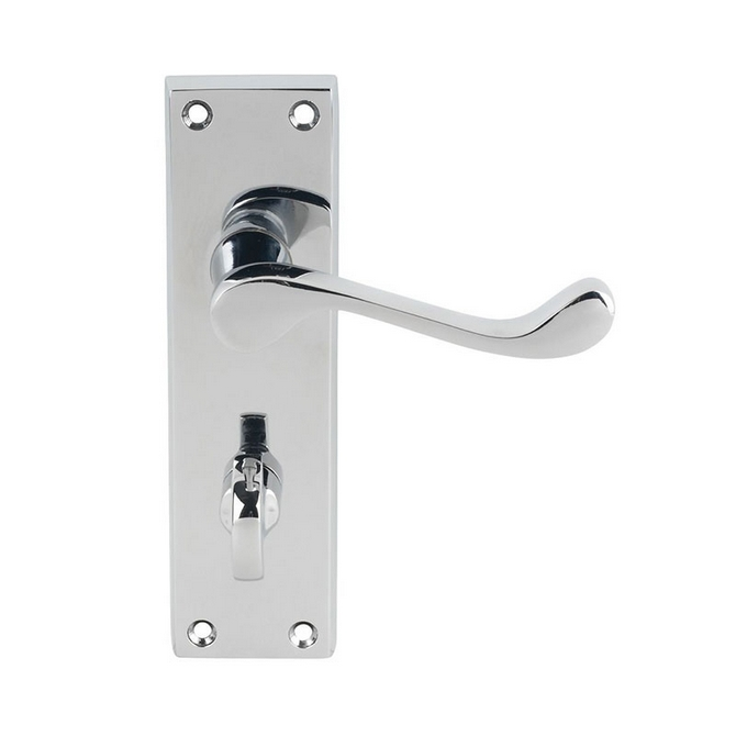 HA306 VICTORIAN SCROLL BATHROOM HANDLE POLISHED CHROME
