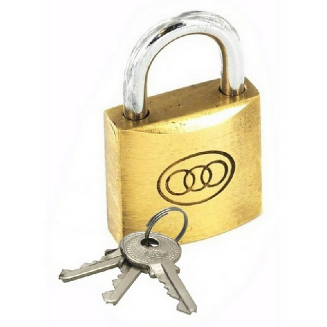 SE032K TRI-CIRCLE 32MM BRASS PADLOCK K/A
