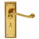 HA336 GEORGIAN BATHROOM LOCK HANDLE POLISHED BRASS